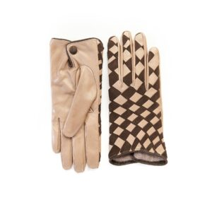 Women's leather gloves with woven panel of alpaca nappa and brown suede mix cashmere lining