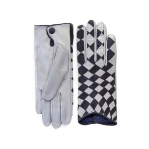 Women's leather gloves with woven panel of grey nappa and blue suede mix cashmere lining