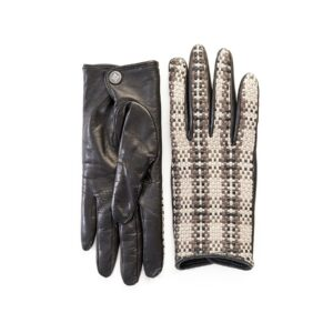 Women's leather gloves with checkered woven panel top detail