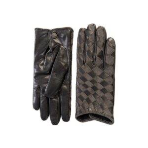 Women's woven black leather gloves mix cashmere lining