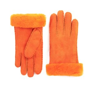 Women's lambskin gloves in fluo orange color