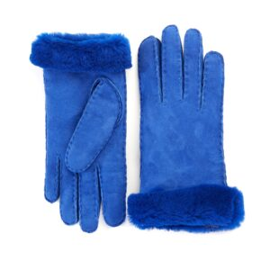 Women's lambskin gloves in fluo blu color