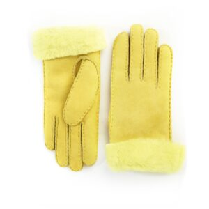 Women's lambskin gloves in fluo yellow color