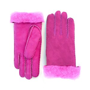 Women's lambskin gloves in fluo pink color