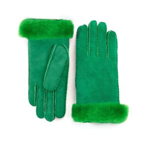 Women's lambskin gloves in fluo green colo