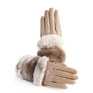Women's gloves in tortora and gold nappa leather with natural fur