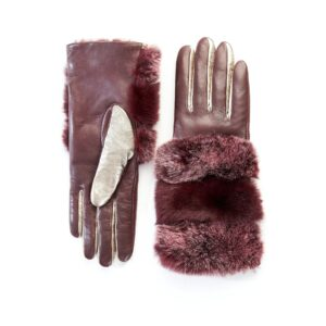 Women's gloves in bordeaux and gold nappa leather with natural fur