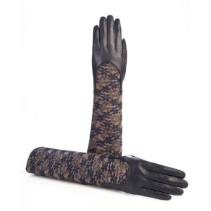 Ladies navy leather gloves with elbow lenght lace sleeve