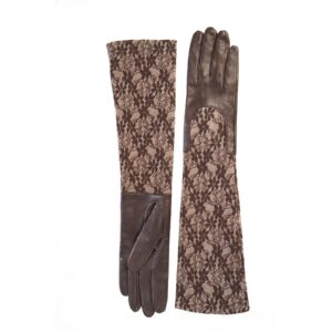 Ladies brown leather gloves with elbow lenght lace sleeve