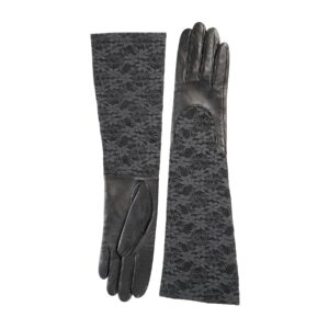 Ladies black leather gloves with elbow lenght lace sleeve
