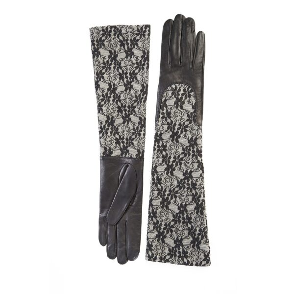 Ladies black leather gloves with elbow lenght grey lace sleeve