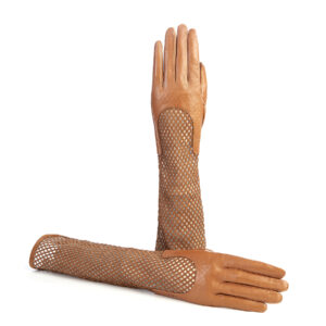 Women's genuine leather gloves in camel nappa and suede elbow lenght sleeve with particular design