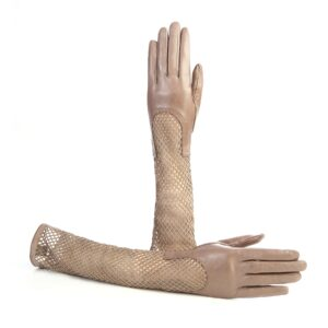Women's genuine leather gloves in taupe nappa and suede elbow lenght sleeve with particular design