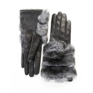 Women's gloves in black nappa leather with natural fur