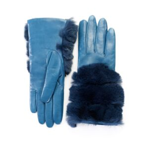 Women's gloves in petrol nappa leather with natural fur