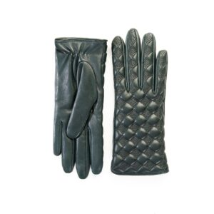 Women's quilted green leather gloves with cashmere lining