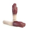 Women's gloves in bordeaux nappa leather with wool needle punch details