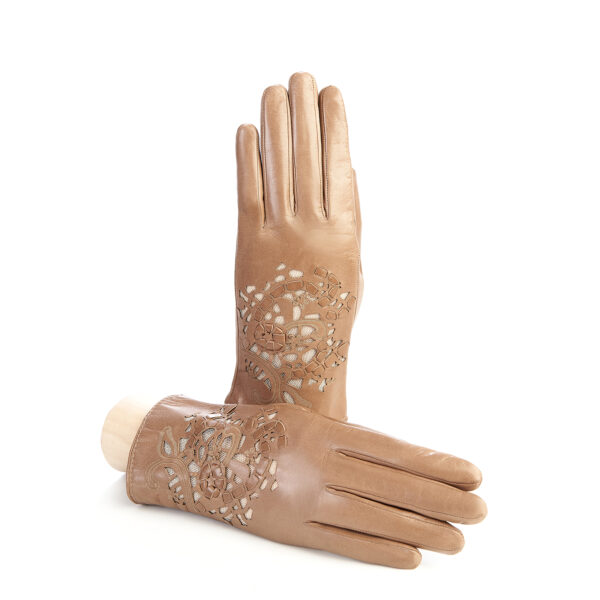 Women's alpaca leather gloves with laser cut top details