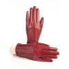 Womens' red leather gloves with studs and woven leather handmade
