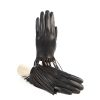Women's silk lined black sheepskin gloves with knotted fringes