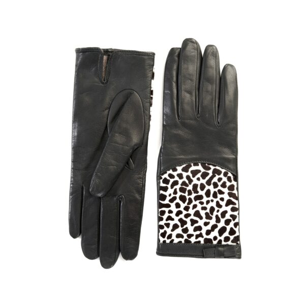 Women's dark grey leather gloves with leo printed calfskin panel detail on top