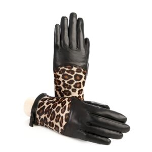 Women's black leather gloves with leo printed calfskin panel detail on top