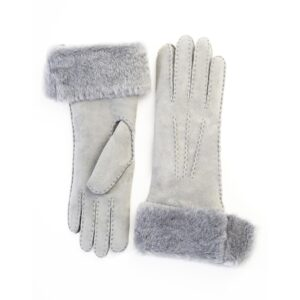 Women's gloves in pearl grey hand stitched lambskin