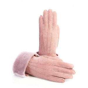 Women's gloves in pink hand stitched lambskin