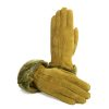 Women's gloves in olive green hand stitched lambskin