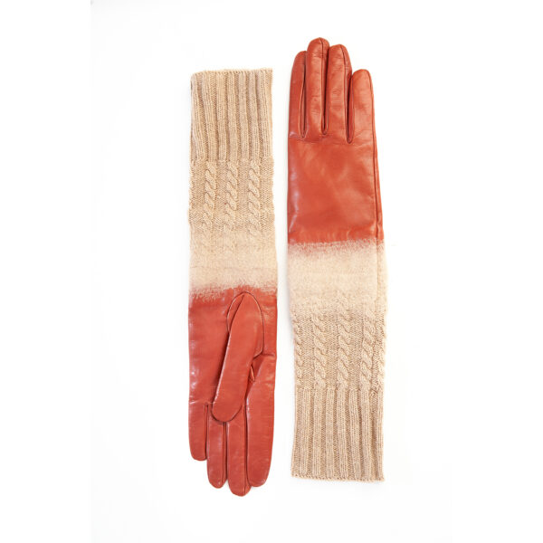 Women's gloves in orange nappa leather with wool needle punch details