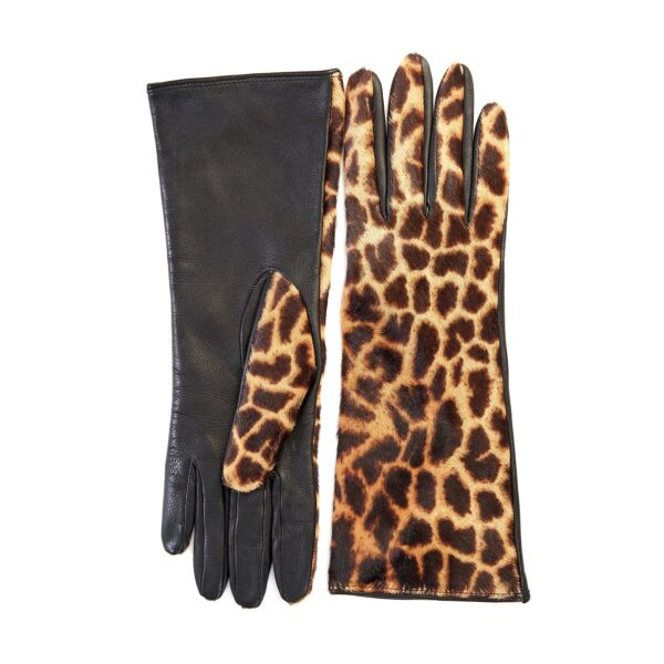 Ladies' leather gloves with yellow leo printed calfskin top details
