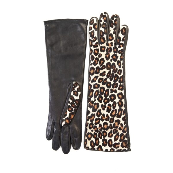 Ladies' leather gloves with white leo printed calfskin top details