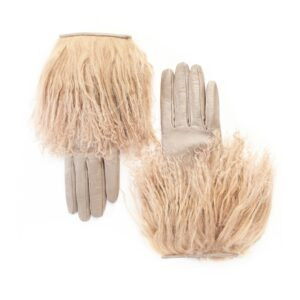 Women's gloves in taupe nappa leather with Mongolian fur (Copia)
