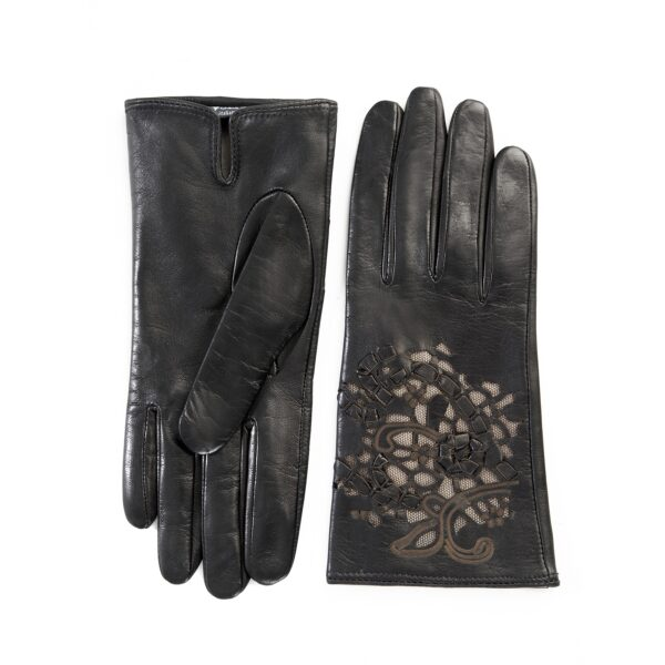 Women's black leather gloves with laser cut top details