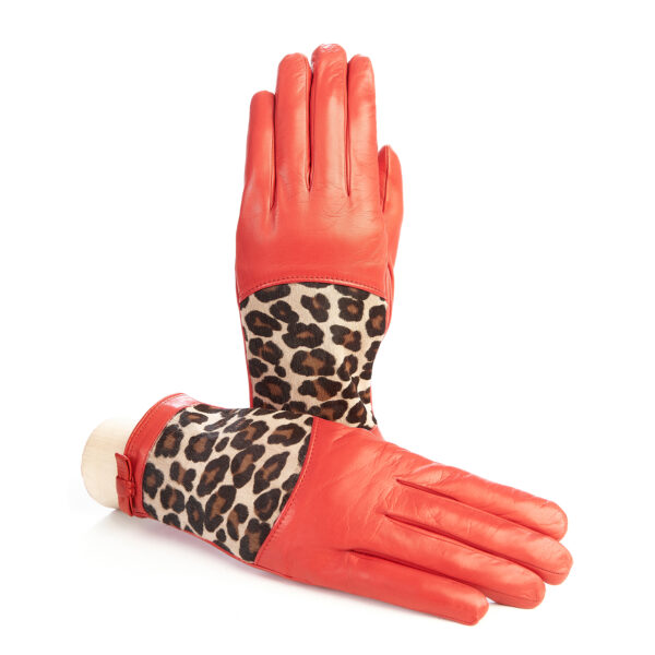 Women's red leather gloves with leo printed calfskin panel detail on top