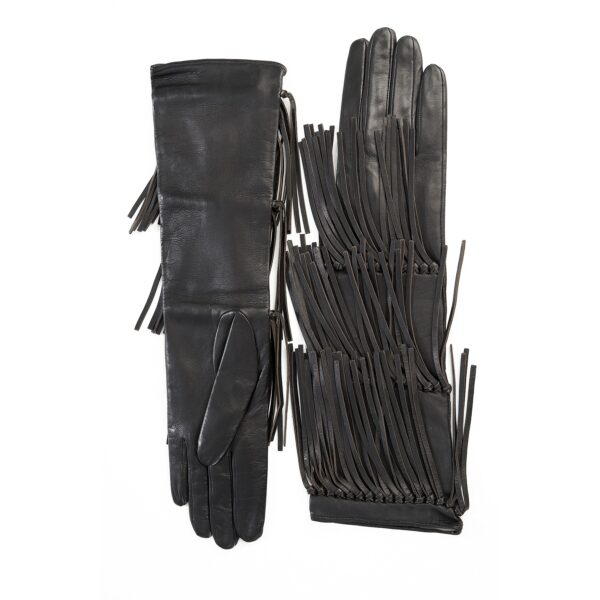 Women's black leather gloves with fringes silk lined