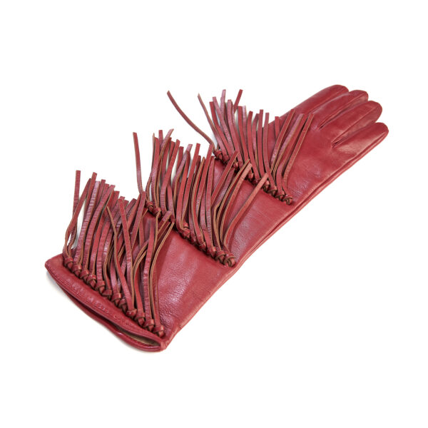 Women's red leather gloves with fringes silk lined