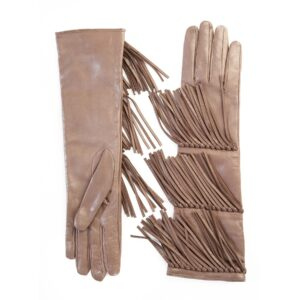 Women's leather gloves with fringes in colour tortora silk lined