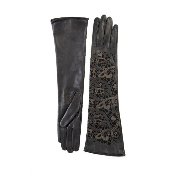 Ladies' long black leather gloves with laser cut details on top