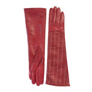 Ladies' long red leather gloves with studs and woven leather handmade