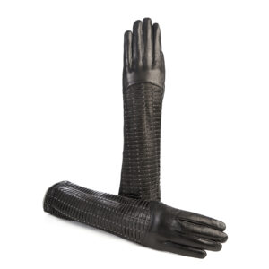 Ladies' long black leather gloves with studs and woven leather handmade