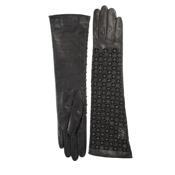 Ladies' exsclusive long unlined black leather gloves with studs
