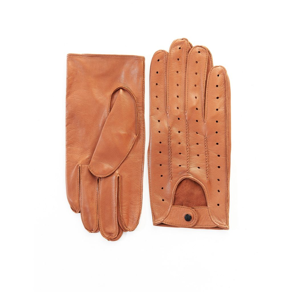 Men's unlined camel leather driving gloves with button closure