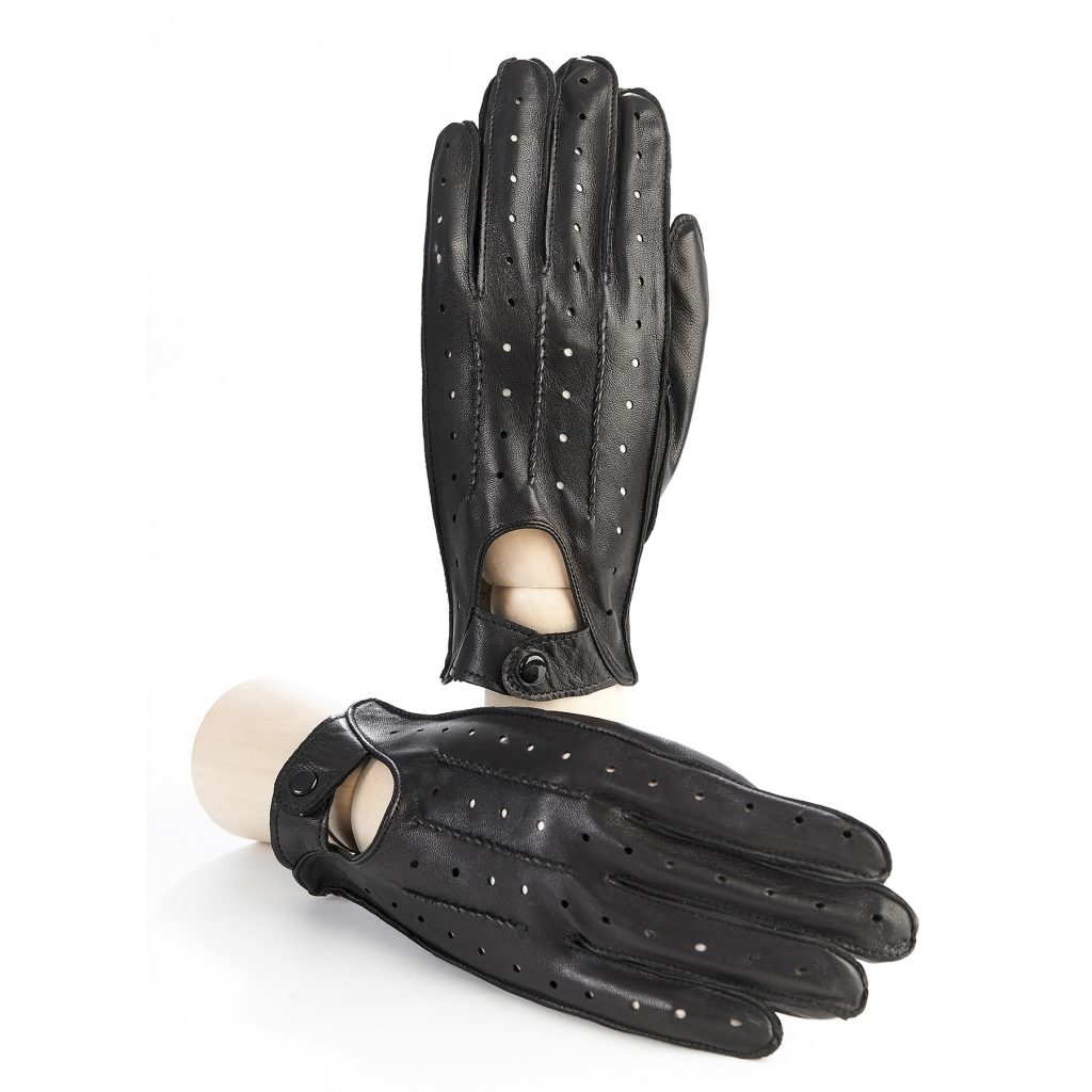 Men's unlined black leather driving gloves with button closure