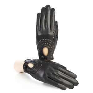 Women's unlined black leather driving gloves with hand-made woven detail on top