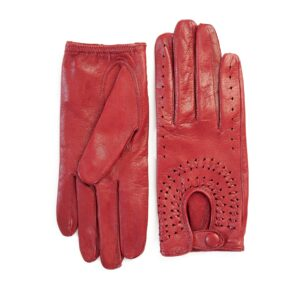 Women's unlined dark red leather driving gloves with hand-made woven detail on top