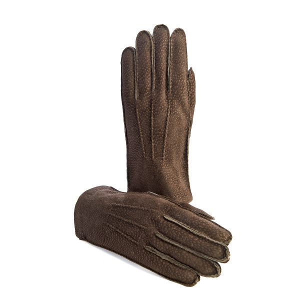Men's hand-stitched brown carpincho gloves cashmere lined
