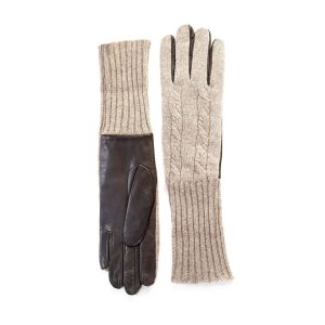Men's leather gloves with woven cashmere top and lining  in color brown and beige