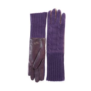 Men's leather gloves with woven cashmere top and lining  in color purple