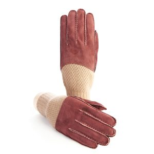 Men's hand-stitched bordeaux suede gloves with cashmere top and lining